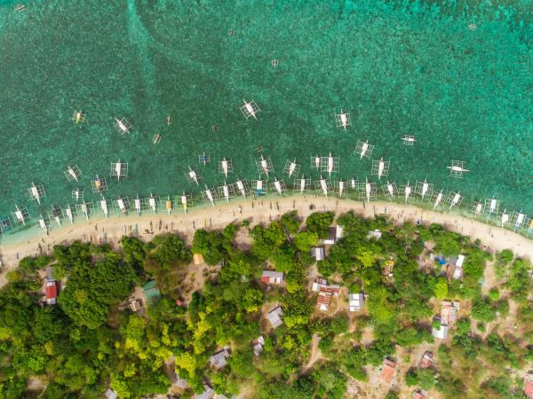 aerial view of beach buildings