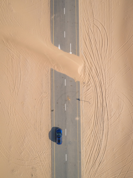 aerial view of road covered with