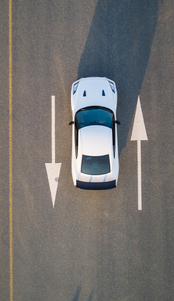 aerial view of a car on