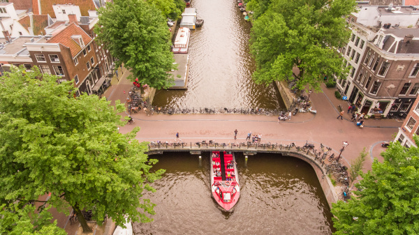 aerial view of a barge on