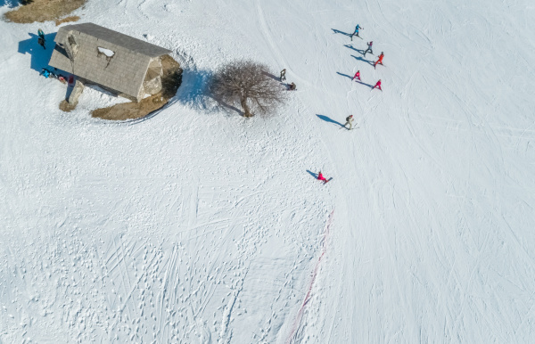 aerial view of people exercising at