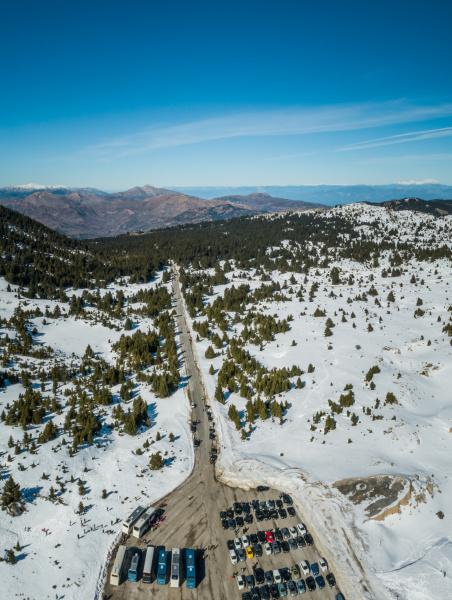 aerial view of ski resort at