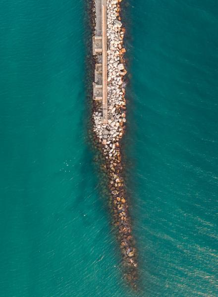 aerial view of dock in patras