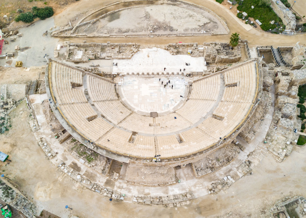 aerial close up view of ruins
