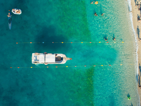 aerial view of passenger boat entering