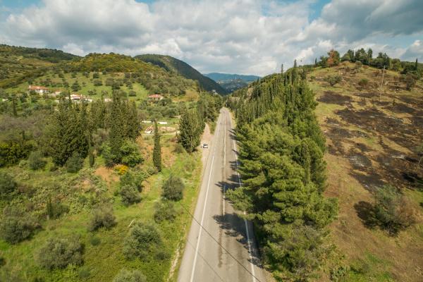 aerial view of asphalt road in