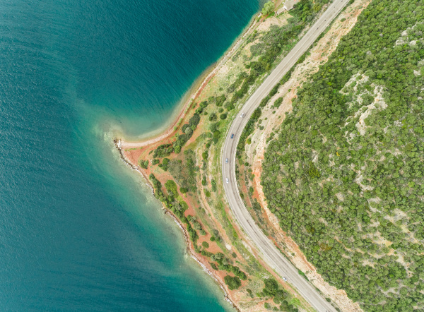 aerial view of the coastline in