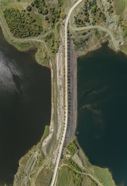aerial view of road on dam