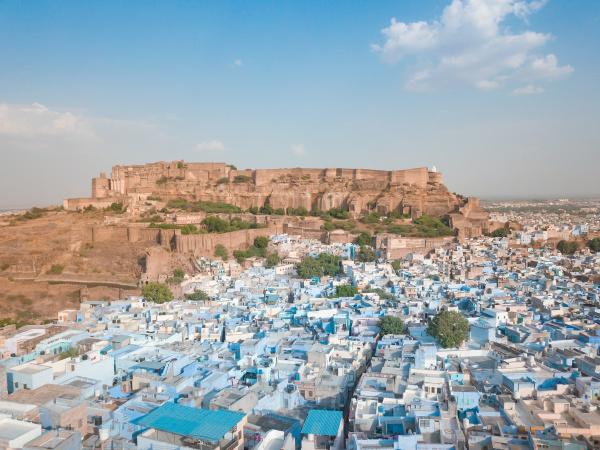 aerial view of mehrangarh fort in