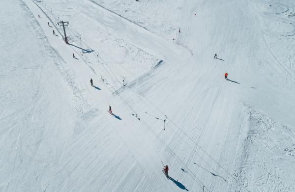 aerial view of people on ski