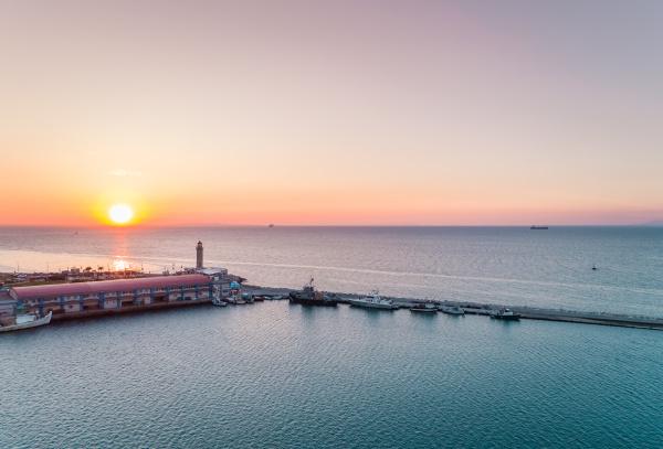 aerial view of sunset at marina