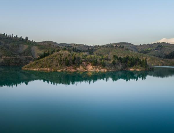 aerial view of lake plastira at