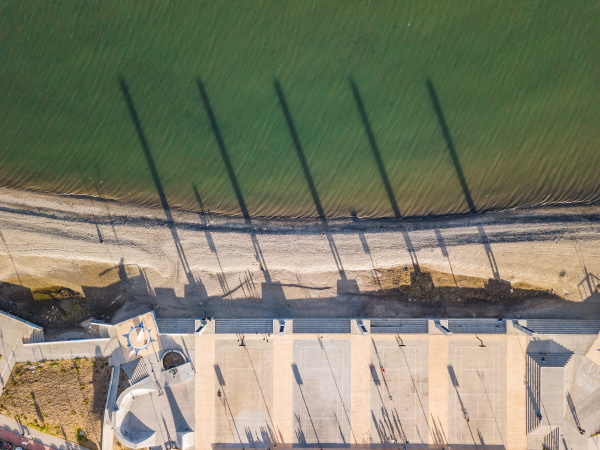 aerial view of beachfront basketball courts