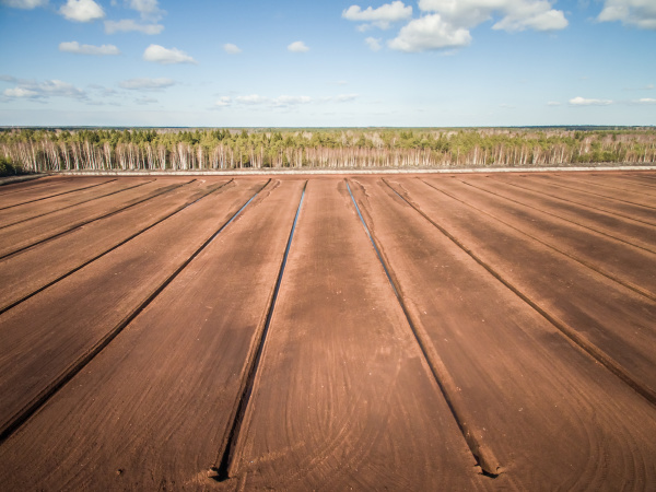 aerial view of soil irrigation and
