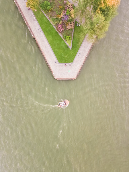 aerial view of a boat driving