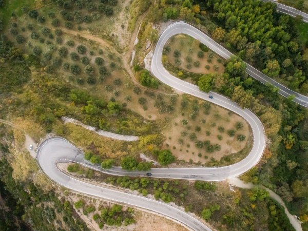 aerial view of a zigzag road