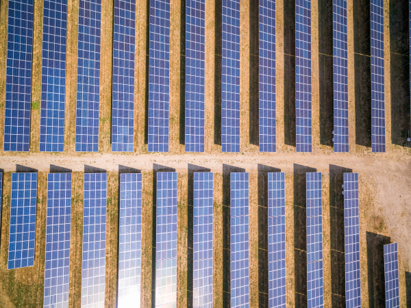 aerial view above of photovoltaic panels