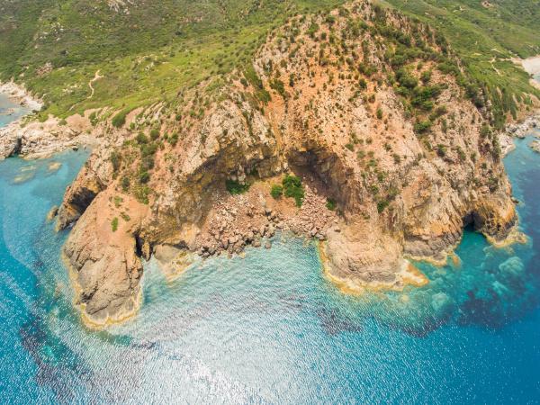 aerial view of sardinia rocky coast
