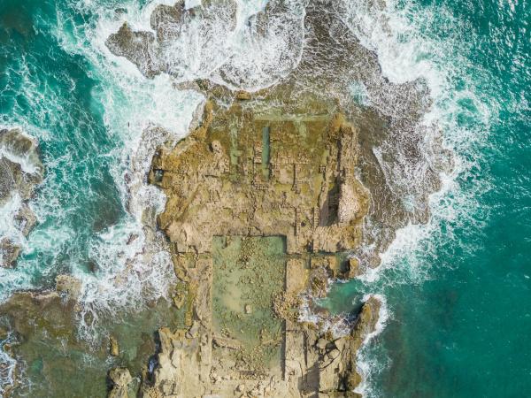 aerial view of caesarea ruins in