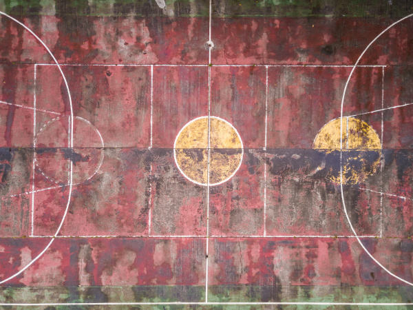 aerial view of an abandoned basketball