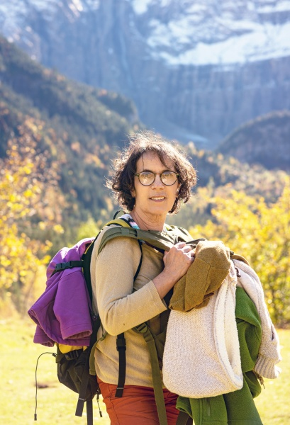 portrait of mature woman hiker in