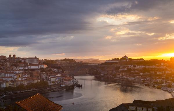 douro river and porto skyline at