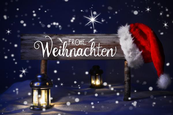 christmas night with snow santa hat