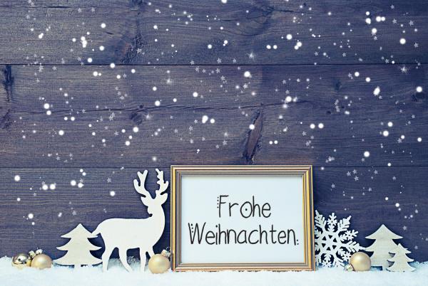 vintage frame golden ball snow deer