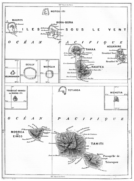 map of tahiti island vintage engraving