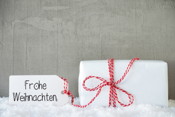 one christmas gift snow cement frohe