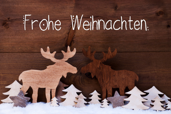 moose wooden tree snow frohe weihnachten