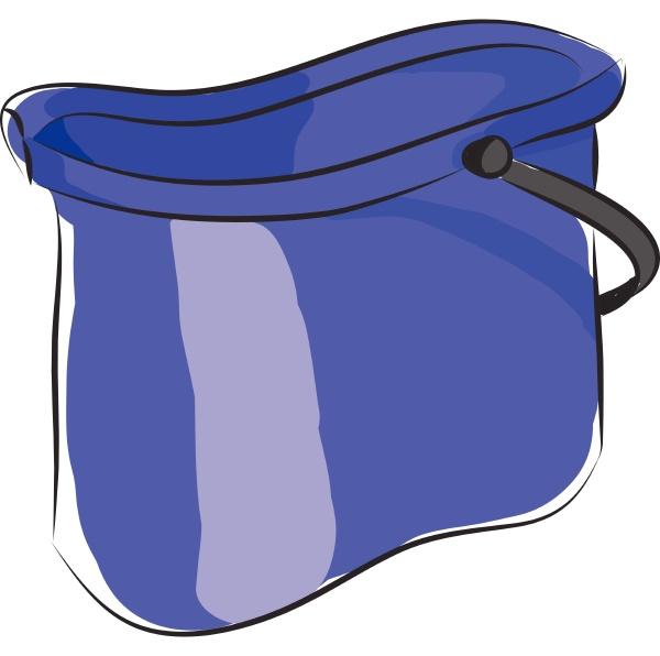 blue bucket vector illustration on white