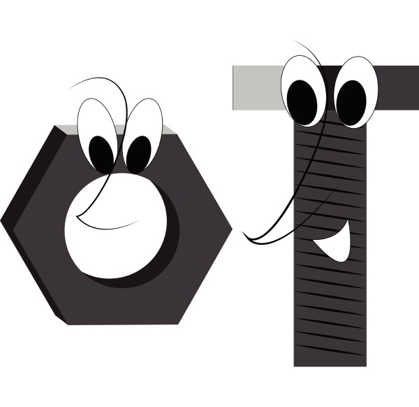 a happy bolt and nut vector