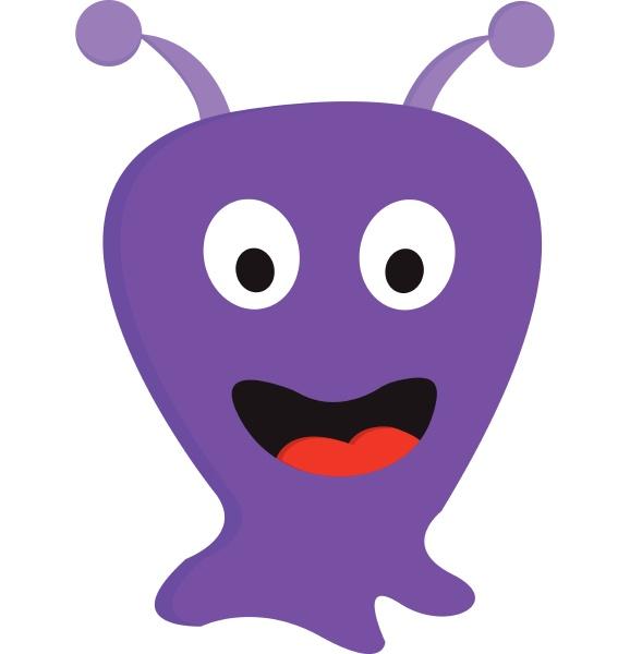 happy purple blob monster vector