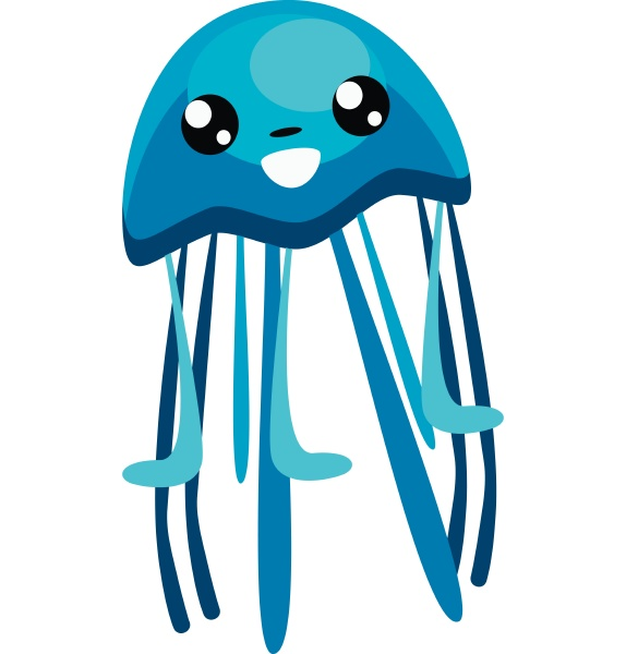 jellyfish with tentacles vector or color