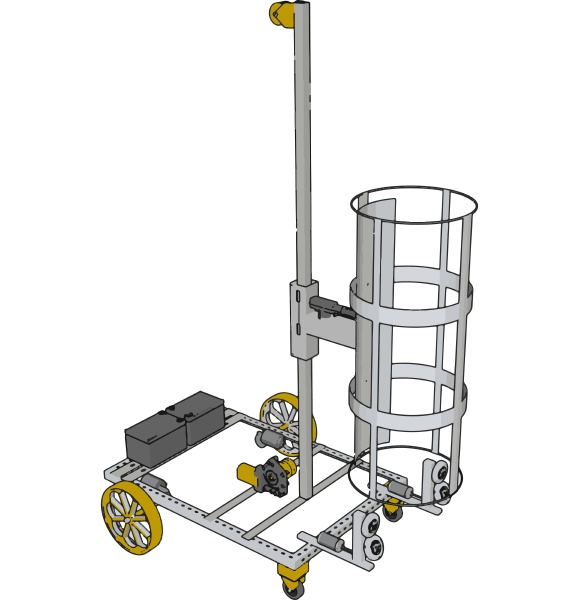 simple basket lift construction vehicle with