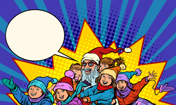 santa claus with children christmas and