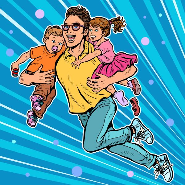 dad superhero flies and carries his