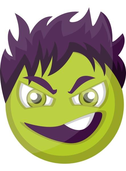 evil green emoji face with purple