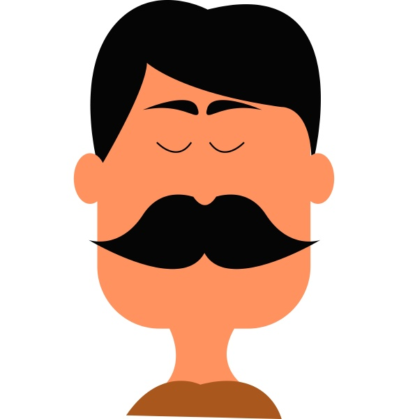a man with big mustache vector