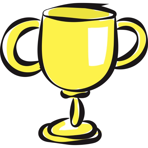 a golden cup vector or color
