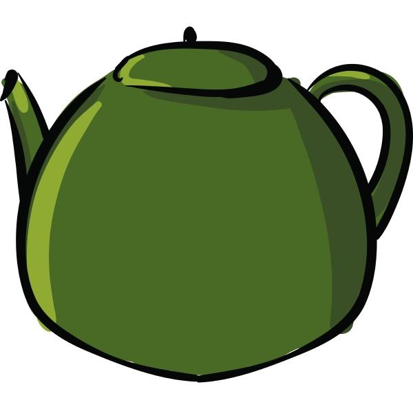 clipart of a green kettle teapot