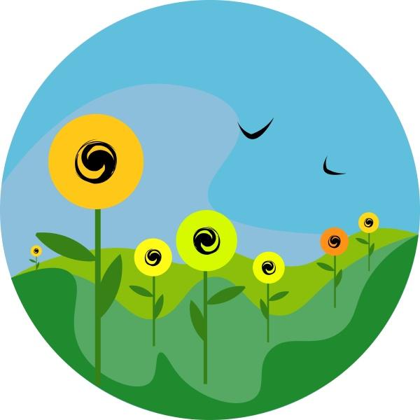 portrait of sunflowers in a field