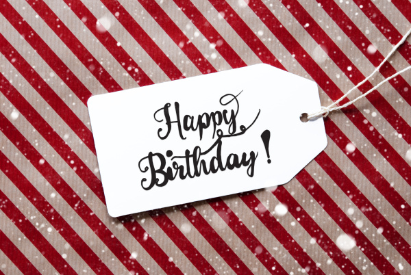 red wrapping paper label happy birthday