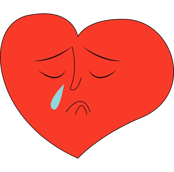 heart crying hand drawn design illustration