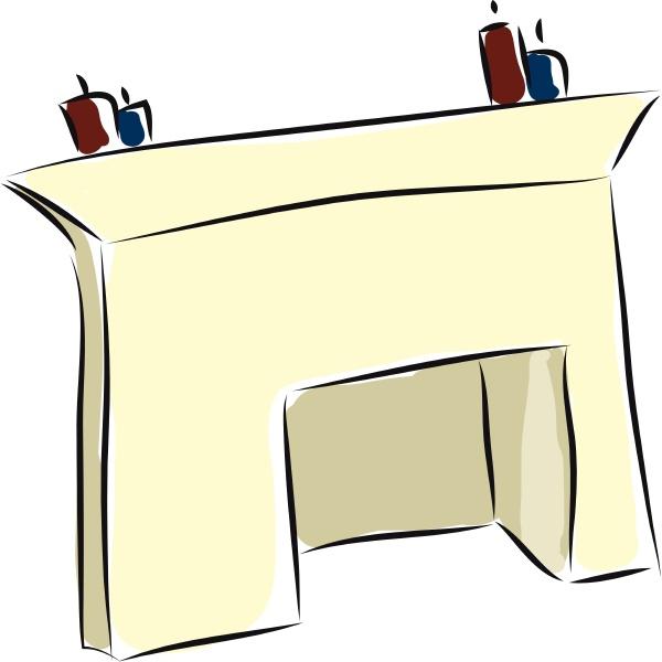 fireplace hand drawn design illustration vector