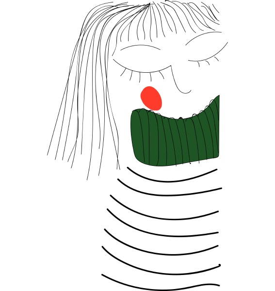 girl with striped shirt hand drawn