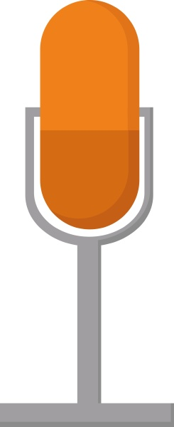 orange microphone illustration vector on white