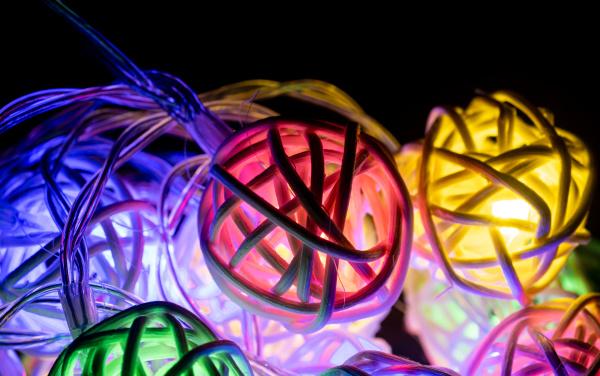 colorful christmas lights string on black
