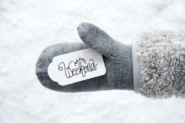 gray glove label snow calligraphy happy